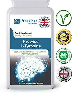 L-Tyrosine 500mg 120 Capsules Support Healthy Brain Function & Mental Alertnes – UK Manufactured to GMP Guaranteed Quality - Suitable for Vegetarians by Prowise Healthcare