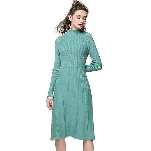 87452b5d687 FINCATI Knitted Dress Women Cashmere Wool Soft Warm Cozy Elegant Ribbed  Elbow Knee-Length Sweater