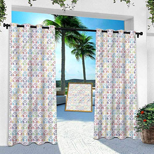 Aishare Store Patio Outdoor Curtain, Cars,Vibrant Colored Vehicles, 108 Inches Long Heavy Duty Indoor Panel for Porch Balcony Pergola Canopy Tent Gazebo Window(1 Panel)