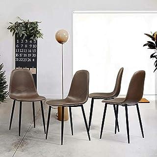 HTGW Juego de 4 sillas de Comedor Retro Asiento de Piel sintética con Patas de Metal sólido Silla Lateral de Escritorio Silla de Cocina marrón Vintage escandinava