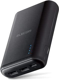 エレコム モバイルバッテリー 大容量 10050mAh 急速充電(3.6A出力) Type-C入力対応 2ポート iPhone/iPad/Android対応 ブラック DE-C15L-10050BK