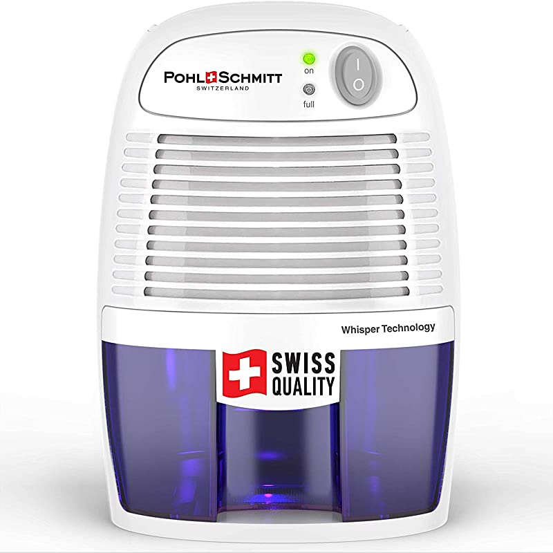 Pohl Schmitt Compact Dehumidifier 17oz Water Tank Ultra Quiet Small Portable Design For Homes Basements Bathrooms And Bedrooms Removes Air Moisture To Prevent Dust Mites Mold Mildew