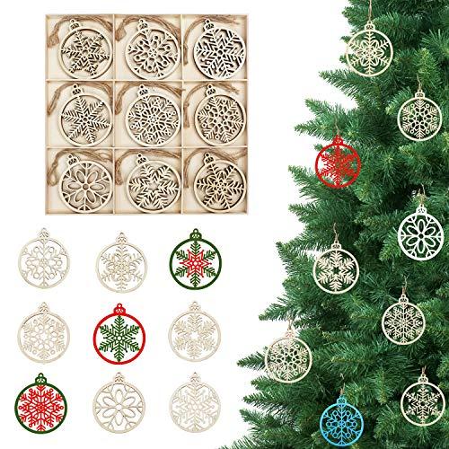BELLE VOUS Adornos de Madera Copo de Nieve para Árbol de Navidad (27 Piezas) 9 Diseños x 3 Piezas Decoraciones de Navidad para Colgar en el Árbol con Cordel - Colgantes Manualidades Decorar Fiestas