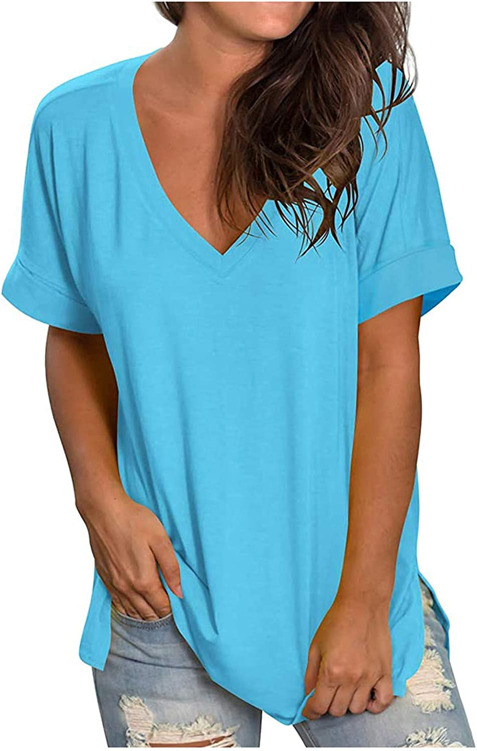 V Neck Tees for Womens Solid Color Tops Summer Casual T Shirt Si