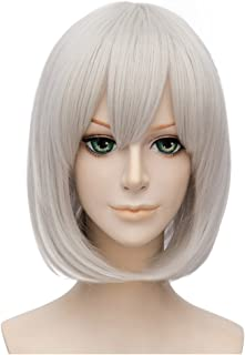 Flovex Short Straight Anime Bob Cosplay Wigs Natural Sexy Costume Party Daily Hair with Bangs (Silver White)