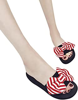 TOTOD Women Fashion Casual Bow Summer Sandals Slipper Indoor Outdoor Flip-flops Beach Shoes