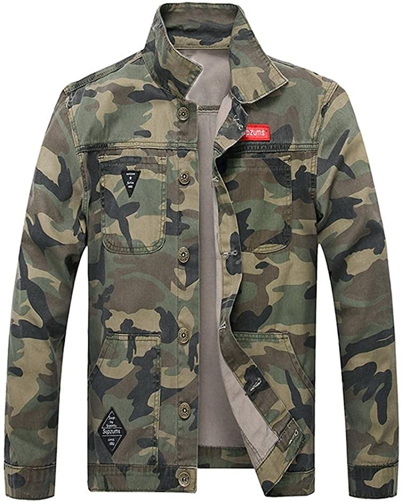 Kuokuo Men's Camo Printed Cargo Denim Outer Jackets Super-cheap Utility Super Special SALE held Work