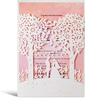 WISHMADE White Laser Cut Trees Wedding Invitations Card Pink Insert Bride and Groom Elegant Engagement Card Invitation Cards (Pack of 50pcs)