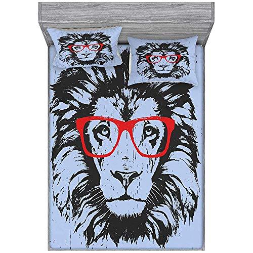 Snbin Funda nórdica de Animales y Funda de Almohada de 3 Piezas, Retrato de león de Grunge con Gafas Hipster Nerd Humor Comic King, Azul Negro Rojo