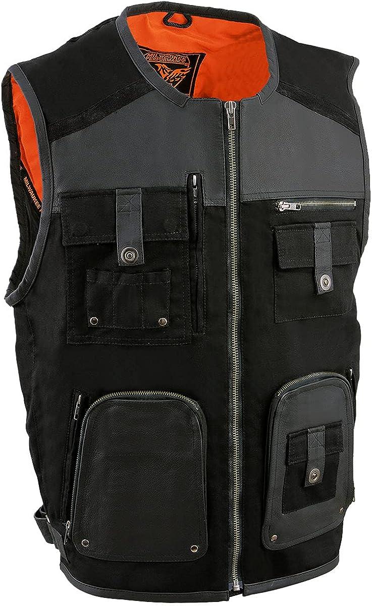 Milwaukee Leather MPM3310 Men's 'Super Utility' Black Leather and Canvas Multi Pocket Vest