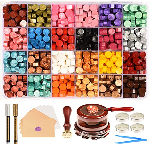 Triwol Wax Seal Stamp Set, 672pcs Wax Seal Beads 24 Colors, Wax Seal Warmer and Spoon with Wax Cushion, Wax Seal Pen, Tree of Life Stamp, 10pcs Envelopes for Wedding Wax Letter Seal Stamp