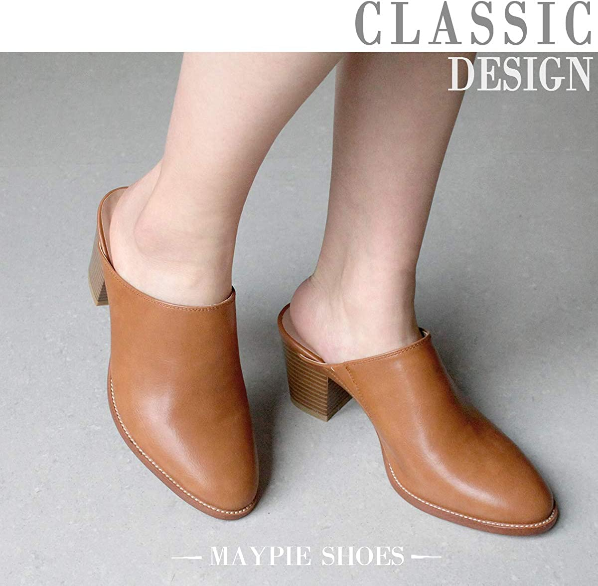MAYPIE Womens Chunky Heels Mules and Clogs Closed Toe Bootie Pumps Slides Shoes
