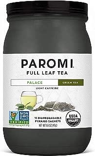 Paromi Tea Organic Palace Green Tea, 15 Pyramid Tea Bags - Non-GMO