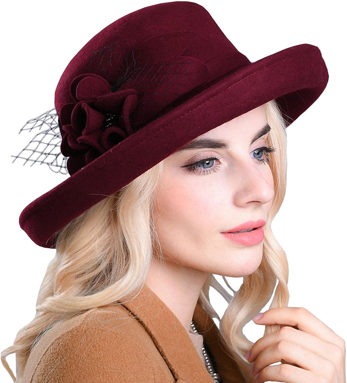 Maitose reg; Women's Wide Brim Wool Felt Bowler Hat