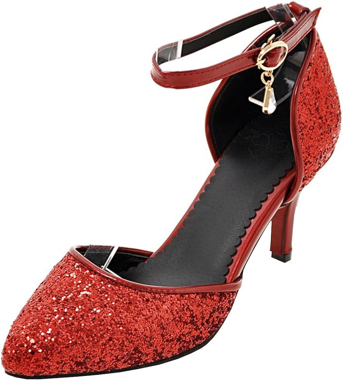 Vitalo Women's D'Orsay Kitten Heel Ankle Strap Pointed Toe Glitter Sparkly Pumps