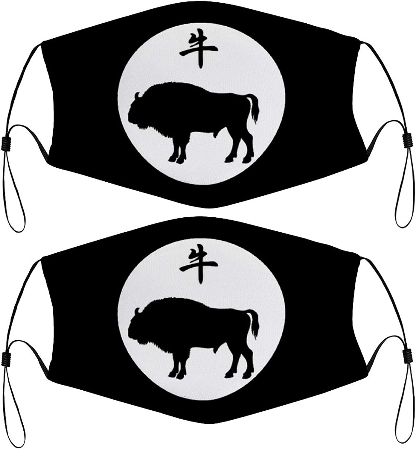 Chinese Year of The OX Kids Face Masks Set of 2 with 4 Filters Washable Reusable Breathable Black Cloth Bandanas Scarf for Unisex Boys Girls
