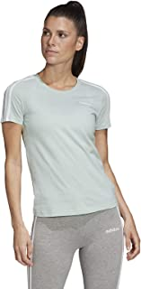 adidas Women's Essentials 3S Slim T-Shirt, Green(Green Tint/White), X-Large