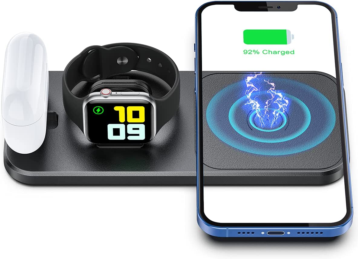 OLISSA Portable Wireless Charger for Apple Devices, 3 in 1 Foldable Charging Station for Apple Watch SE/6/5/4/3/2/1 Charger Stand Dock for AirPoods Pro/2/1 Fast Wireless Charging Pad for iPhone Black