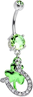 Body Candy Light Green Get Lucky Horseshoe and Clover Dangle Belly Ring