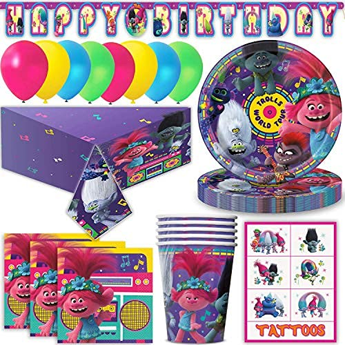 Trolls Party Supplies for 16 - Large Plates, Napkins, Cups,Happy Birthday Banner, Table Cover, Balloons, Tattoos - Great Tableware Set w/Poppy, Guy Diamond, DJ Suki, Biggie & Prince Gristle