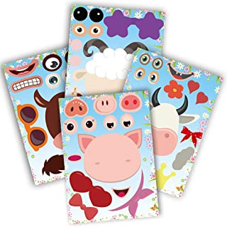 partyGO 24pcs Make A Farm Animal Stickers Sheets, Kids Farm Themed Birthday Party Favors Supplies, Yard Sale Stickers For Zoo Animal Party Supplies, Stick Pigs Horses For Kids