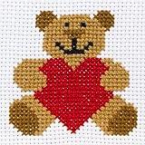 Anchor - Kit de Punto de Cruz para Principiantes, diseño de Oso con corazón