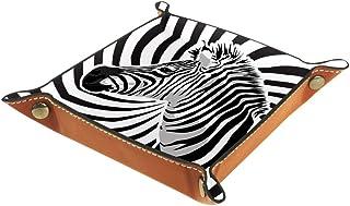 Biaoya Quadrangle Boîte de rangement de bureau pliable en cuir PU avec plateau à rouler pour jeux de table Motif zèbre