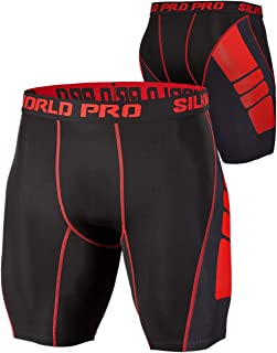 SILKWORLD Men's Compression Shorts Cool Dry Workout Running Tights