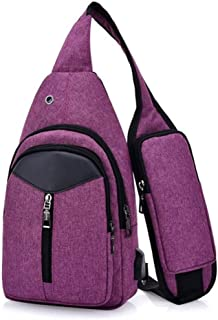 Men and Ms Classic Sports Outdoor Messenger Shoulder Bag, with Multifunctional Headphone Jack USB Crossbody Chest Bag Convenient Retro Style Sling Bag Leisure Hiking (Color : Purple)