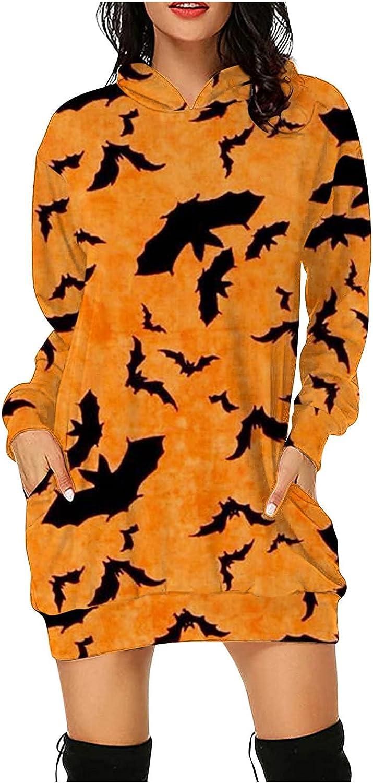 Women Halloween Hoodie Max 79% OFF Tops At the price Bat Long Printed Dress Sweats