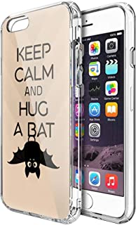 Lucky Cicity Compatible for iPhone 6 Plus/6s Plus Keep Calm and Hug a Bat Funny Animal Hard PC with Soft TPU Edges Anti-Yellowing Protective Case