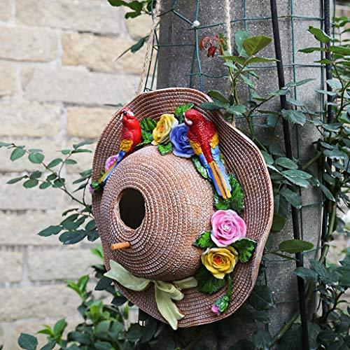 NYKK Desktop Dekoration Garten-Dekoration Innenhof Terrasse Dekoration kreative Rural Außen Strohhut Vogelhaus Dekoration-Anhänger Desktop Balkon Dekoration
