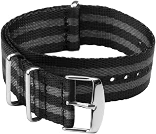 Archer Watch Straps | Seat Belt Weaved Nylon Premium Quality NATO Straps | Heavy Duty Military Style Replacement Watch Band (Black/Gray Stainless 22mm)