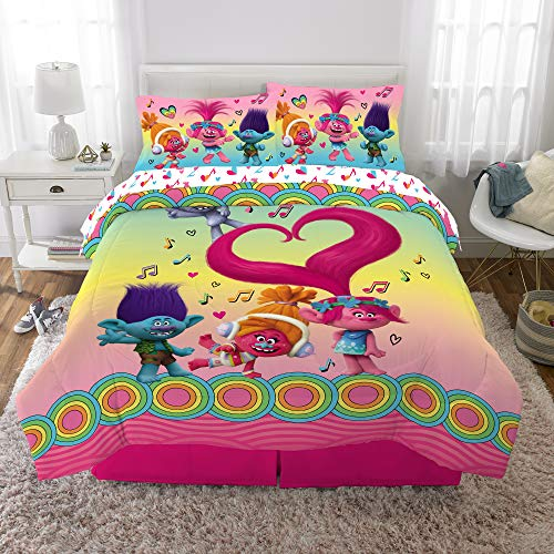 World Tour Trolls Comforter with Sheets Set, 5 Piece Full Size Kids Bedding