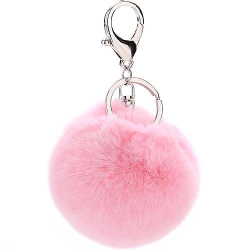 e58f74e85345 Pom Pom Keychain Rabbit Fur Puff Ball Keyring Cityelf Fluffy Accessories  Car Bag Charm
