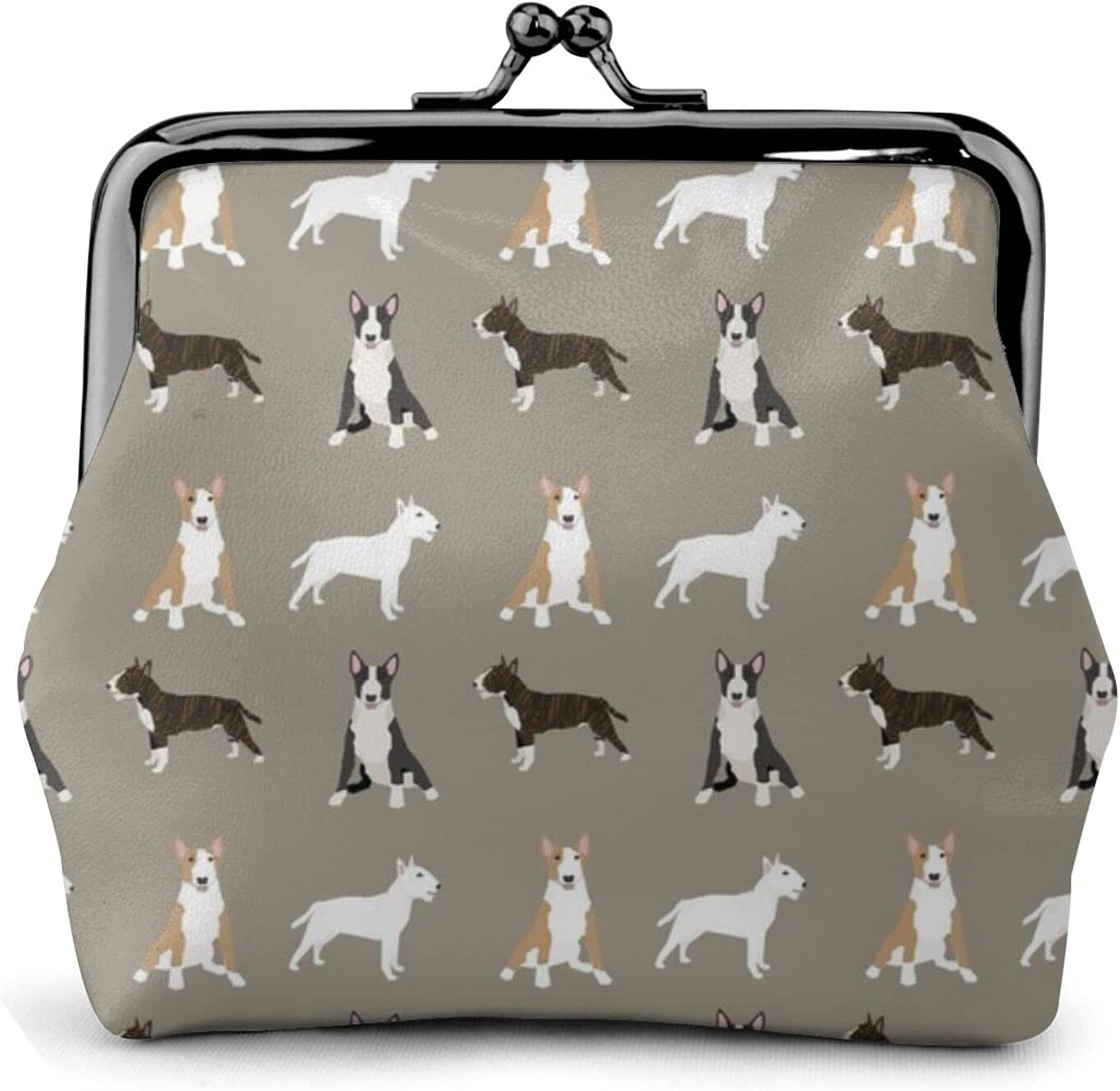 Bull Terrier Mixed 1308 Coin Purse Retro Money Pouch with Kiss-lock Buckle Small Wallet for Women and Girls