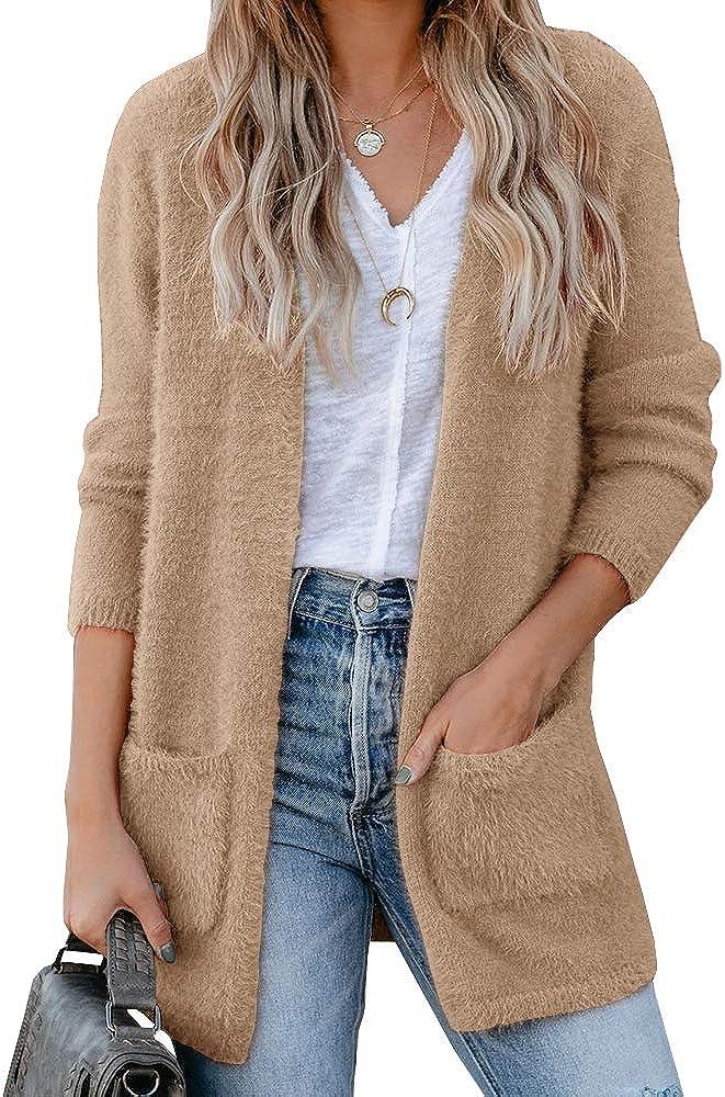Saodimallsu Womens Oversized Open Front Fuzzy Cardigan Sweaters Long Sleeve Casual Slouchy Fluffy Loose Knit Sweater