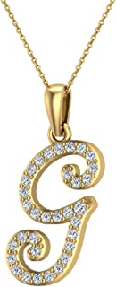 Initial Necklace Letter charms Diamond pendant necklace 18K Gold