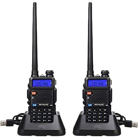 Retevis RT5R Walkie Talkie Profesional, Banda Dual Largo Alcance 2 Vías Radio con Cargador de USB, 128 Canales Radio VOX FM Transceptor Portátil de Mano para Almacén, Caza (Negro, 2 Piezas)