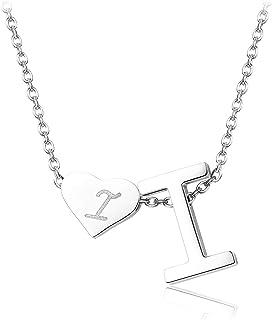 FIBO STEEL - Collar con Colgante en Forma de corazón de Alfabeto en Tono Plateado con Letra A a Z, Regalo para Mujeres y n...