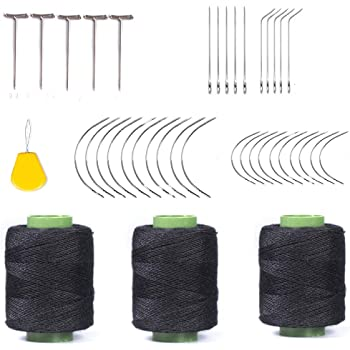 70 pcs Canvas Repairing 50pcs T, 20pcs C T C Curved Needles Hand Sewing Needles Hair Weave Needles for Wig Making Carpet Leather Modelling and Crafts Sofa Cloth 1 Roll Black Thread Shoes