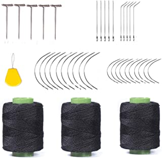 Weaving Needle Combo Deal 3Pcs Black Thread with 20pcs C Needle,5Pcs J Shap, 5Pcs I Shap and 10 Wig T Pins for Making Wig Sewing Hair Weft Hair Weave Extension