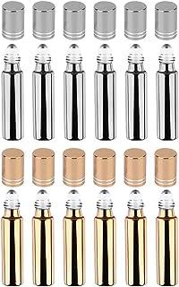 Lurrose 12Pcs 10Ml Roll on Garrafas de Vidro Claro Garrafas Vazias Com Bola de Rolo para Óleos Essenciais Aromaterapia Per...