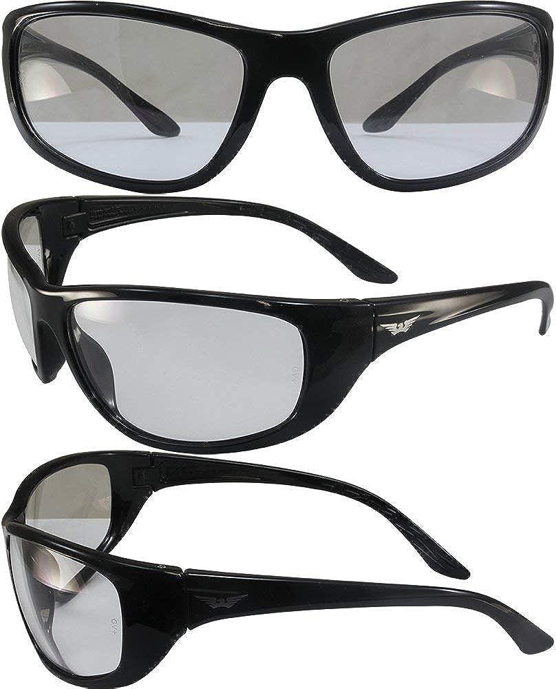 Global Vision Gafas de sol de seguridad Hercules 6 lentes transparentes con marco negro brillante ANSI Z87.1+