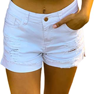 Women's Ripped Mid Rise Stretchy Denim Jeans Shorts