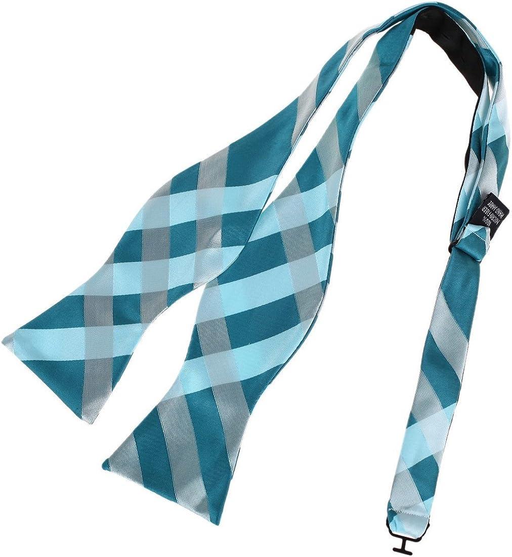 Dan Smith Men's Fashion Checkers Microfiber Self-tied Bow Tie With Box