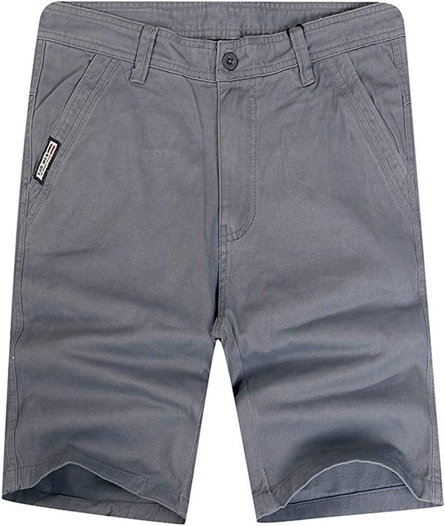 IHGTZS Shorts for Men, Men's New Summer Loose Fit Solid Cargo Shorts Casual Plus Size Short Pants