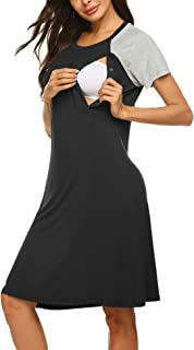 Women's Nursing/Delivery/Labor/Hospital Nightdress Short Sleeve Maternity Nightgown with Button S-XXL