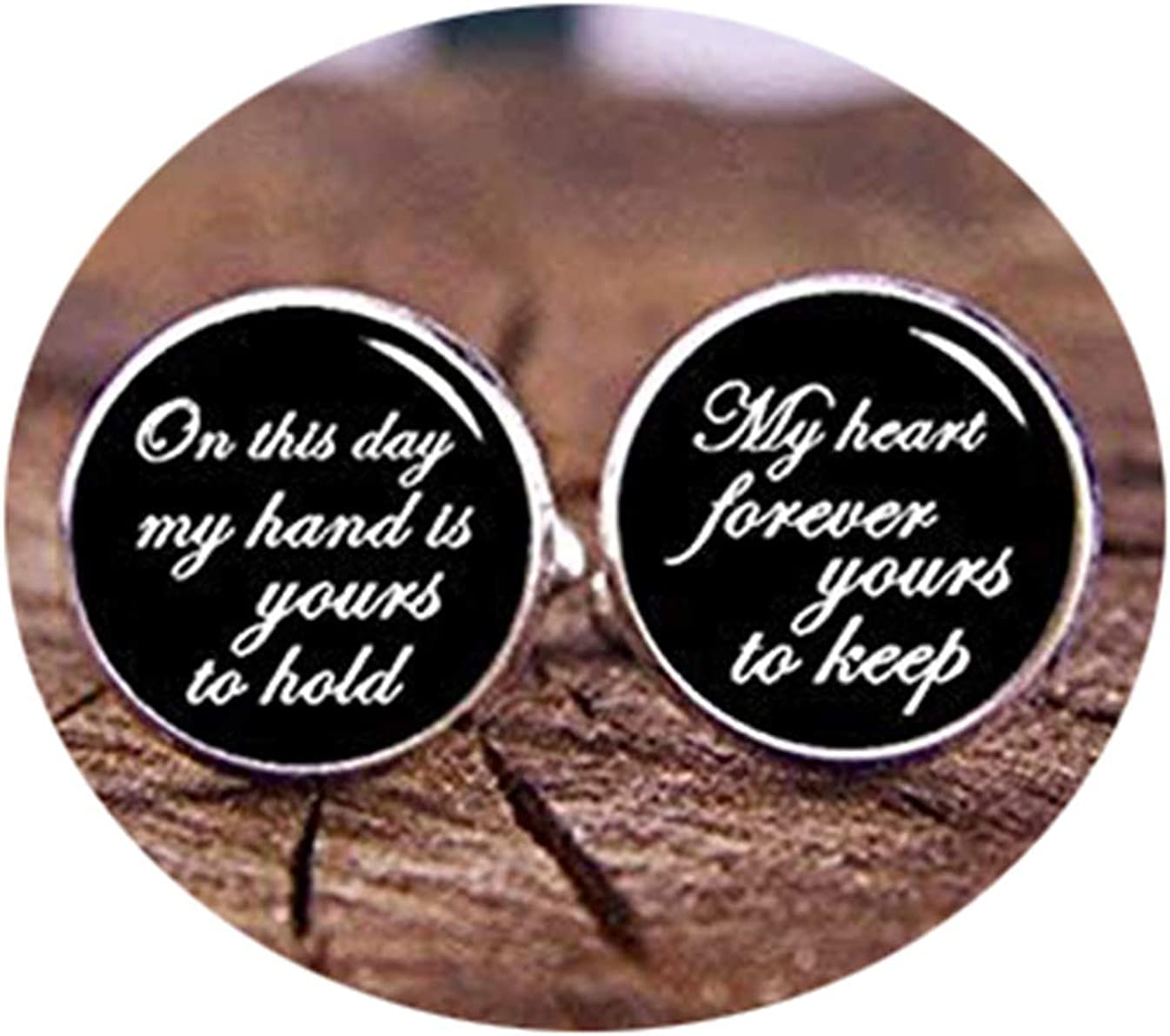 Custom Cuff Links,On This Day My Hand is Yours to Hold, Custom Any Wording, Personalized Wedding Cuff Links, Heart Forever Yours, Groom Cuff Links, Tie Clips,Gift of Love