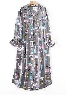 HUANSUN Vestido Largo de Dormir de Talla Grande Ropa de Dormir de Mujer Invierno cálido algodón Cepillado Camisones de Manga Larga Pijamas de Mujer Vestido Largo de Noche, JC, 7, L